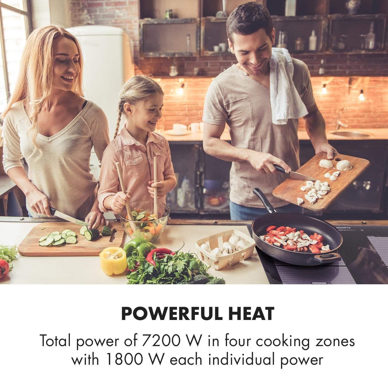 cocinar con una vitrocerámica, encimera de inducción de gran potencia y capacidad flexible.